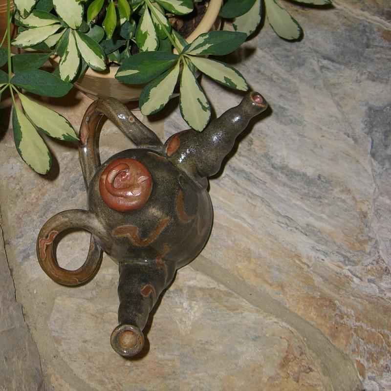 wheel thrown green teapot gift idea