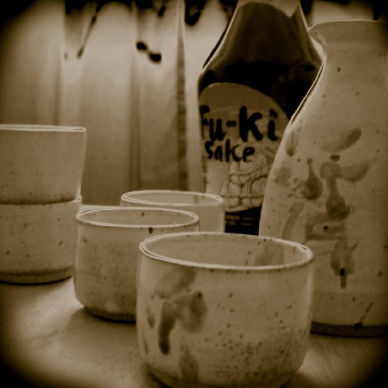 Wheel-thrown sake set pottery ceramics