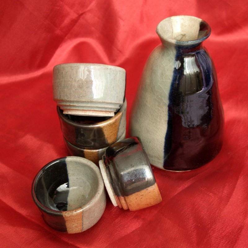 Wheel-thrown pottery sake set