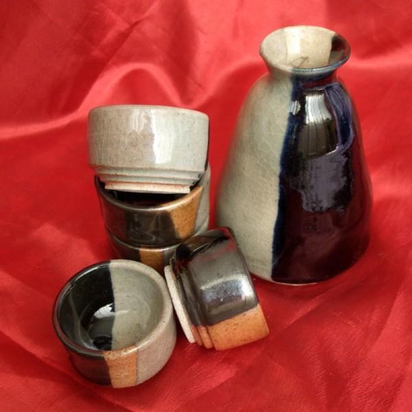Wheel-thrown pottery sake set
