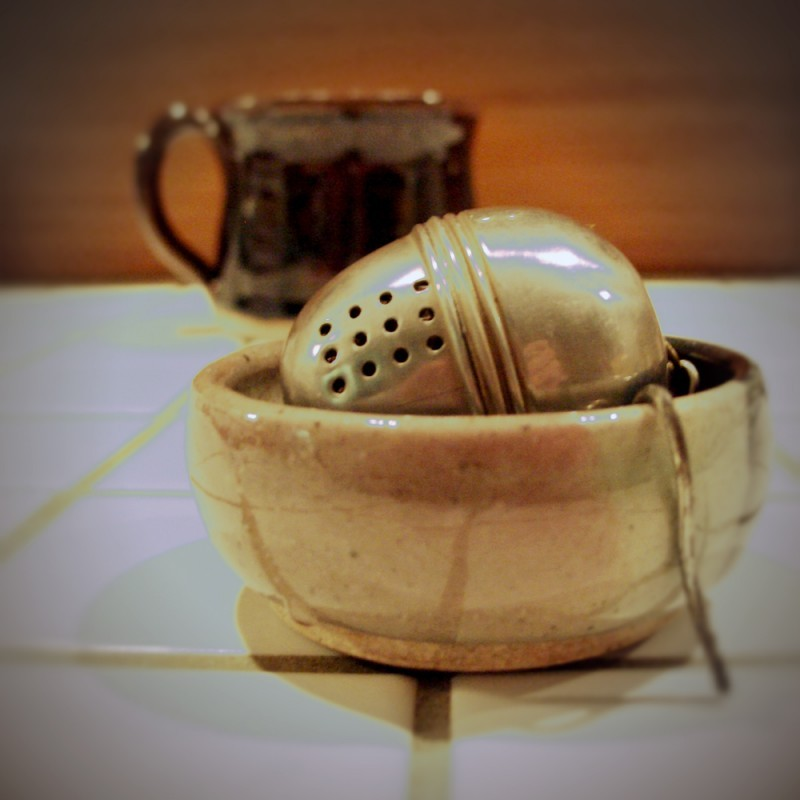 Wheel-thrown tea bag holder pottery ceramics