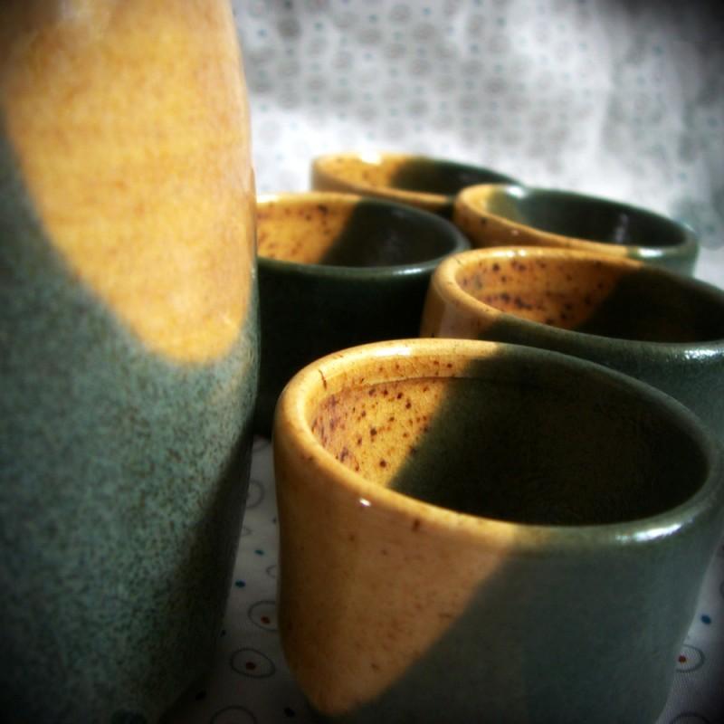 Wheel thrown sake set pottery ceramics