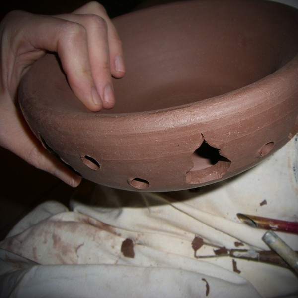 bowl clay pottery ceramics warm-brown double-walle