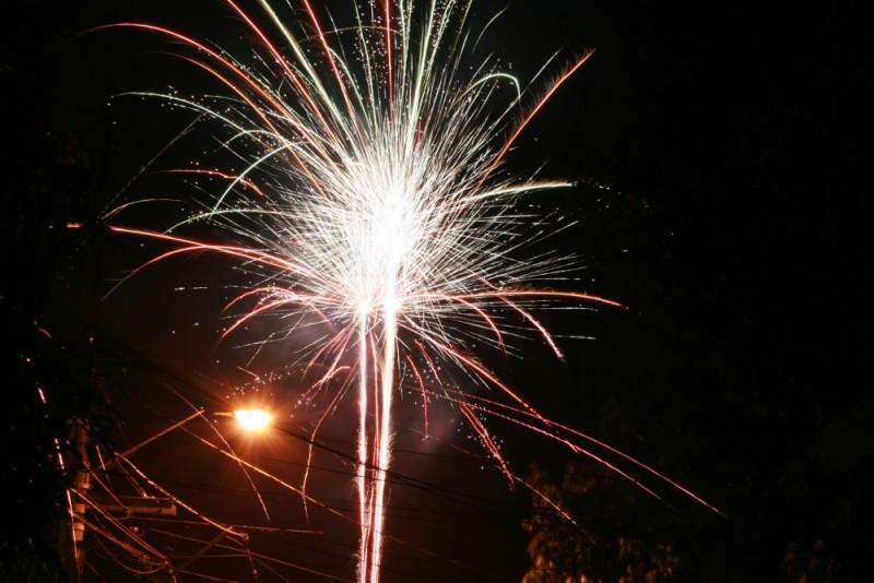 Lightpost and Fireworks