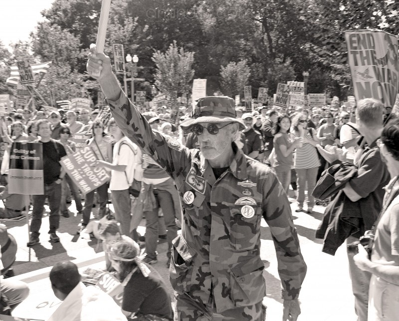 Veteran marching for peace