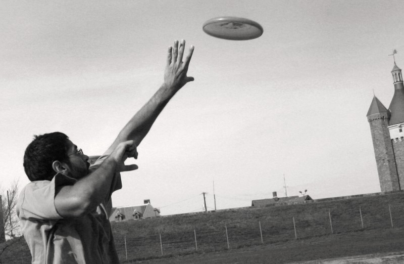 Ghazaly jumps for frisbee