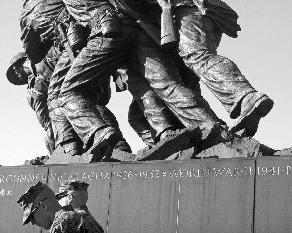 2 Marines at Iwo Jima Memorial