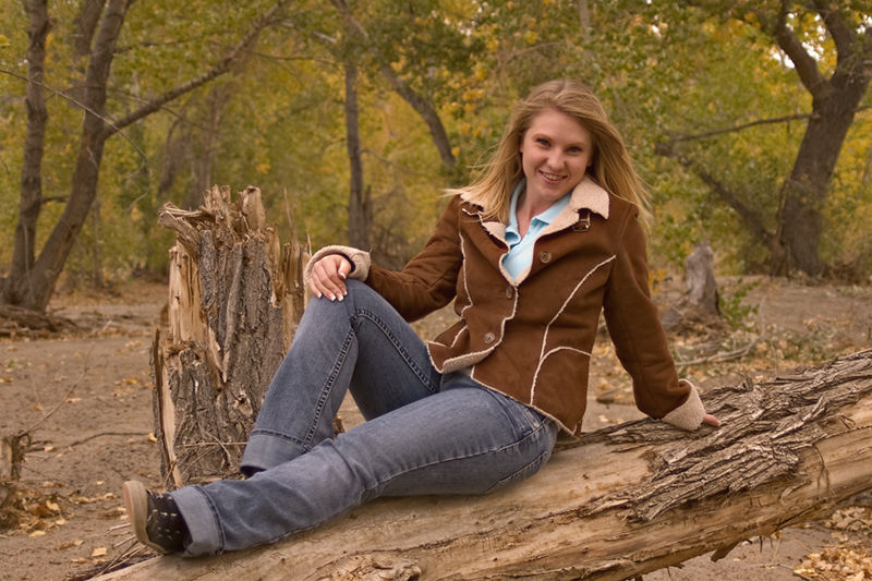 Girl on a log