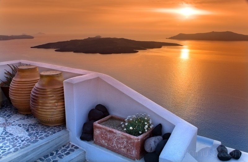 santorini volcano at sunset