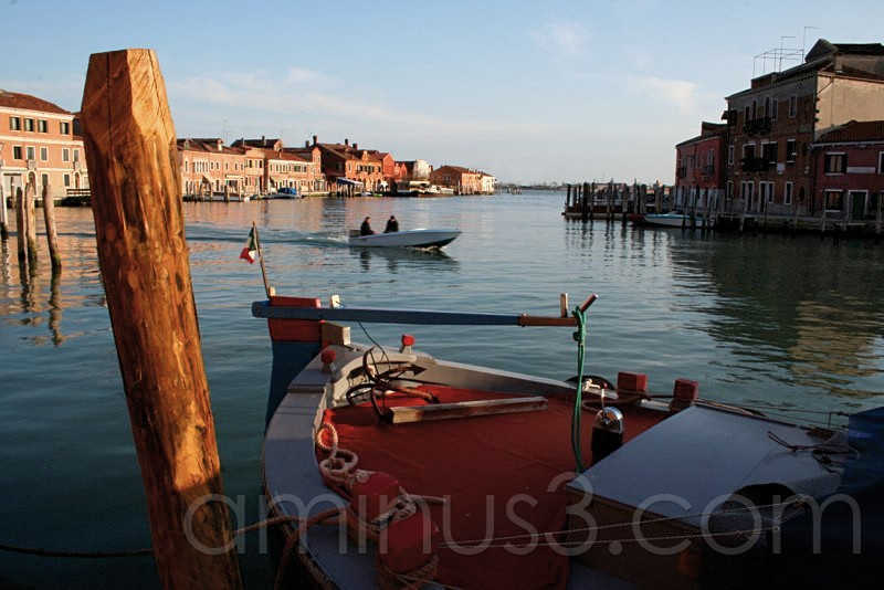 End of the day on Murano Island with boats
