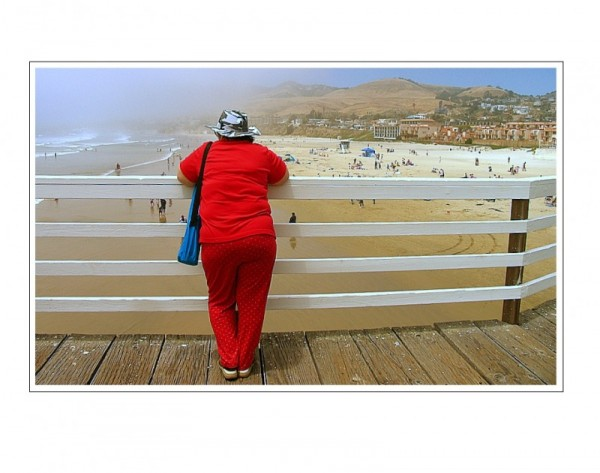pismo, lady, red