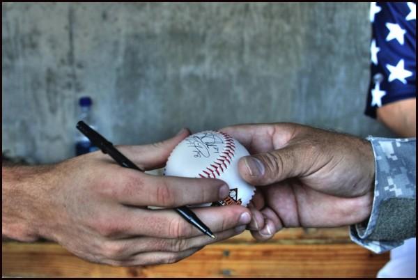 Signing of a baseball
