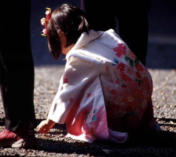kid in kimono gathering stones at meiji shrine