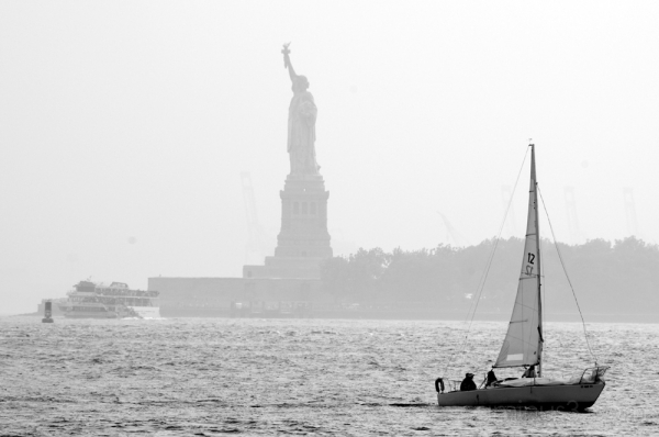 statue and sailboat