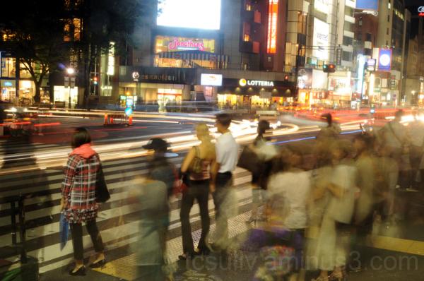shibuya 渋谷 street crossing cars tokyo 道 車 東京 night