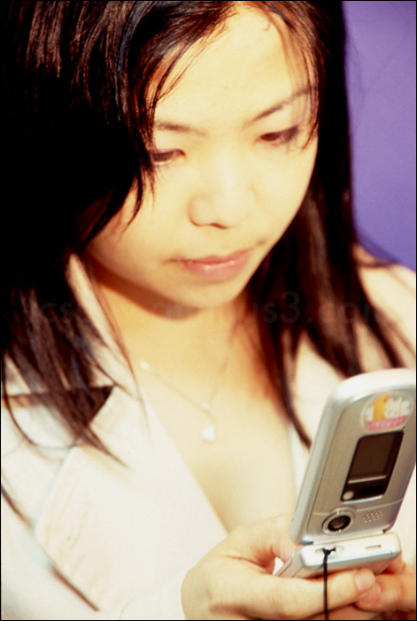 asian girl with japanese cell phone mobile 携帯