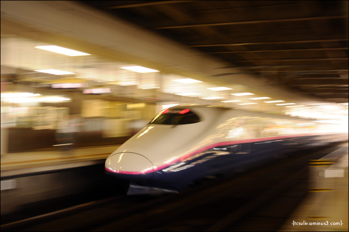shinkansen hayate speeding along the tracks 新幹線はやて