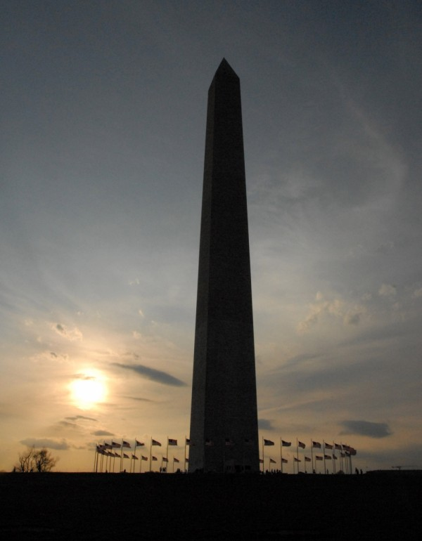 sunset on the monument