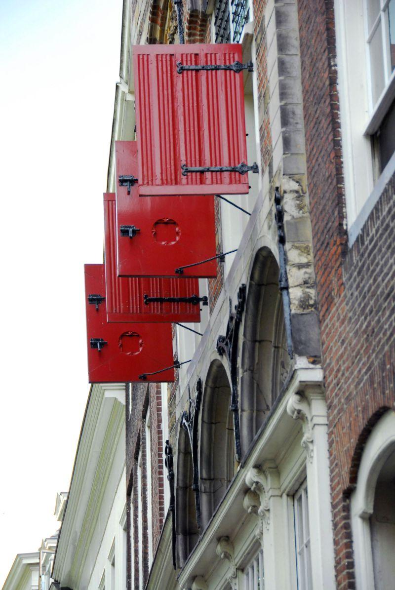 red window shutters of deflt