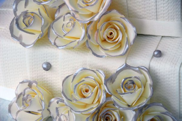 silver-tipped roses