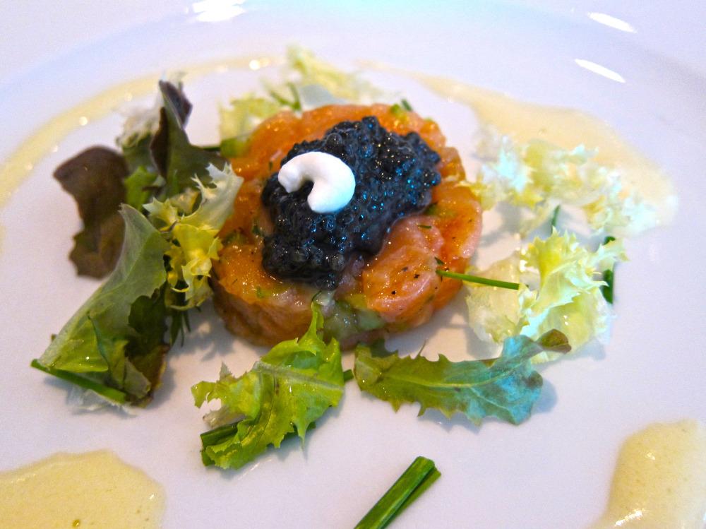 smoked salmon tartare and malossol caviar