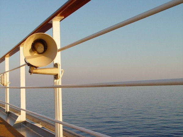 Speaker on a ship.