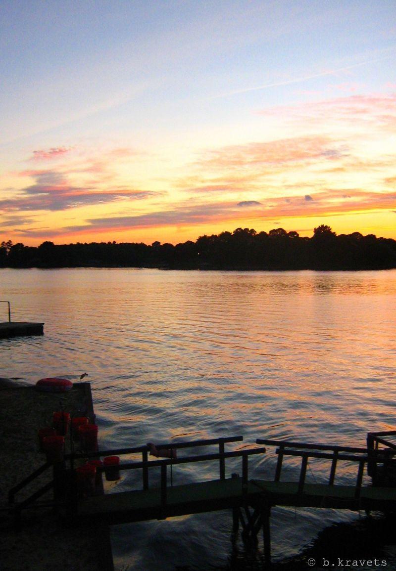 sunset on hickory lake, nc