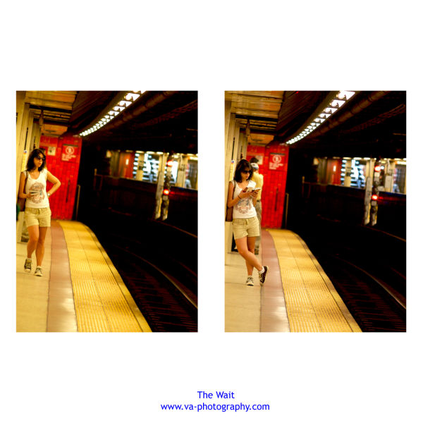 Young Lady Reads Books and waits for NYC Subway