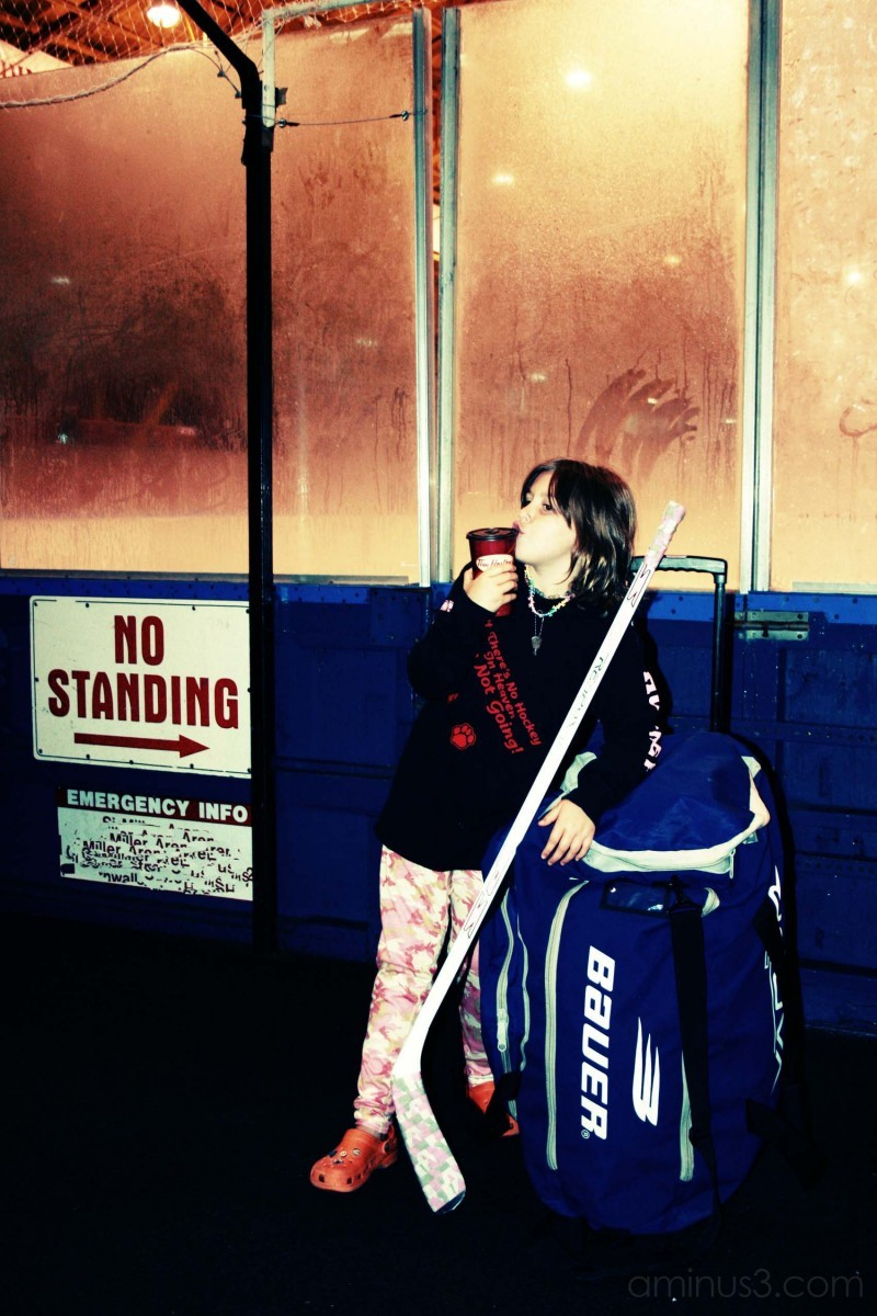 daughter at hockey arena