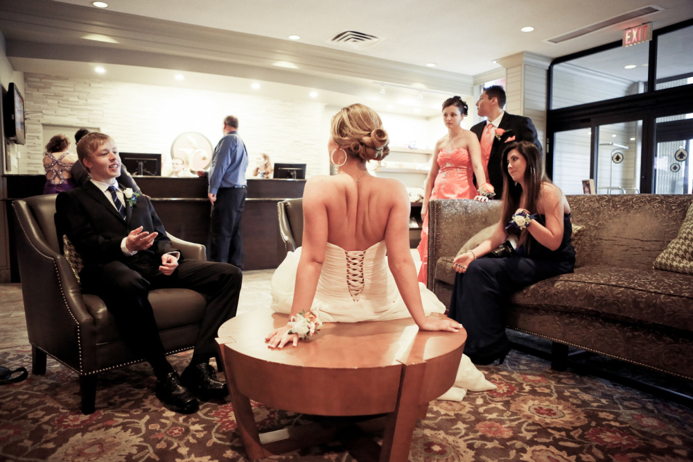 teens talk during quiet prom moment