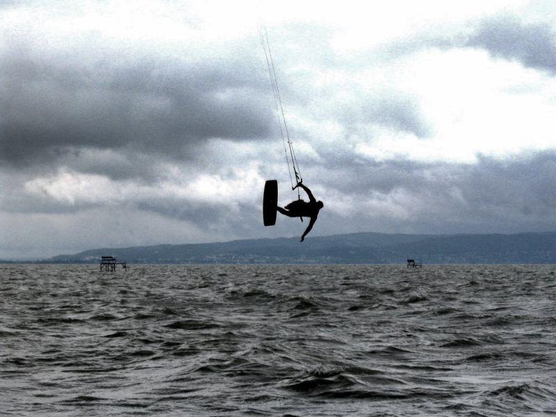Kite surfer over Balaton
