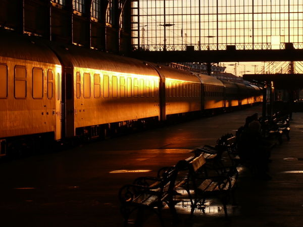 Nyugati train station in the morning sun
