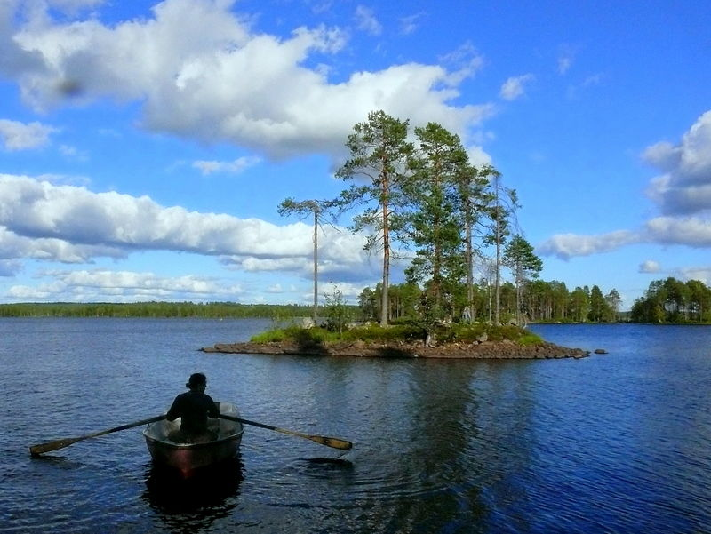 paddling to an island in Finland