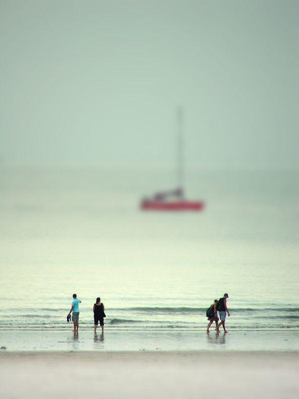 tilt-shifted Belgian sea shore