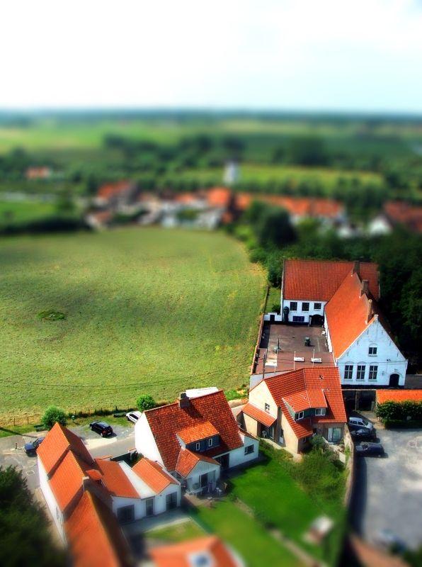 tilt-shifted Belgian village
