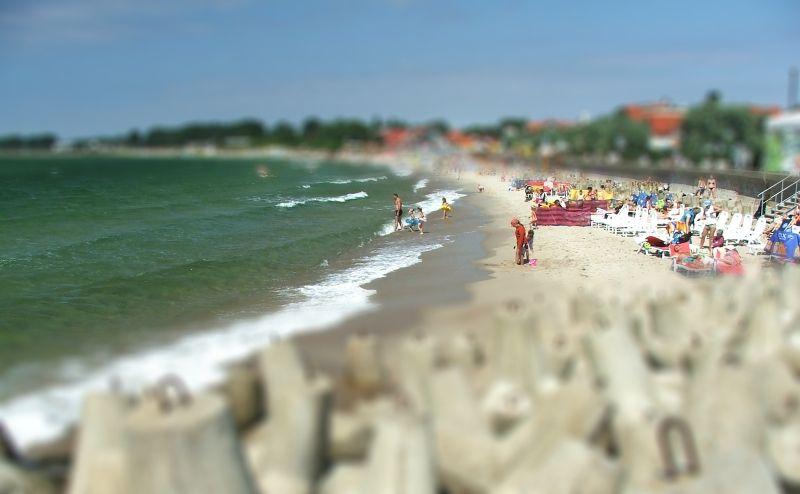 tilt-shifted North Sea shore (Hel)