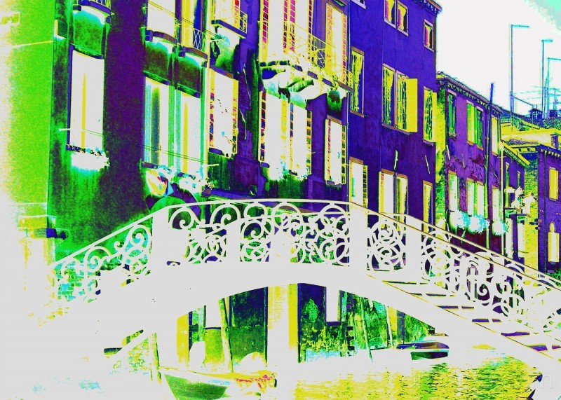 Photoshoped picture of a bridge in Venice