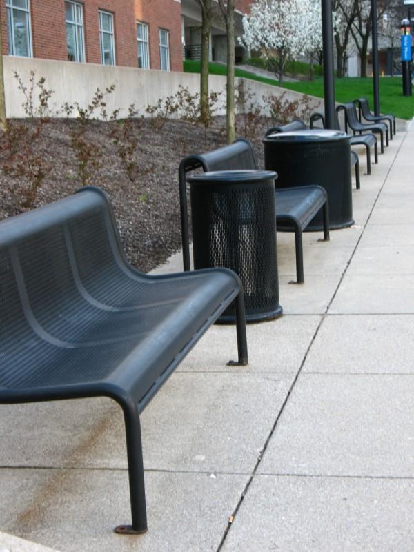 The inevitable steel benches