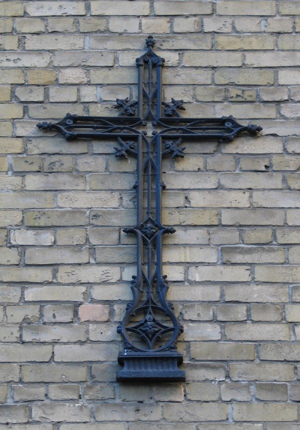 Close up of cross at rear, 14 College St., Toronto