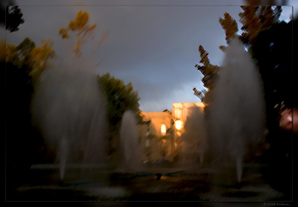 Fountain at sunset in Roma district in Mexico City