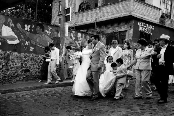 A wedding in the streets of Tepoztlan
