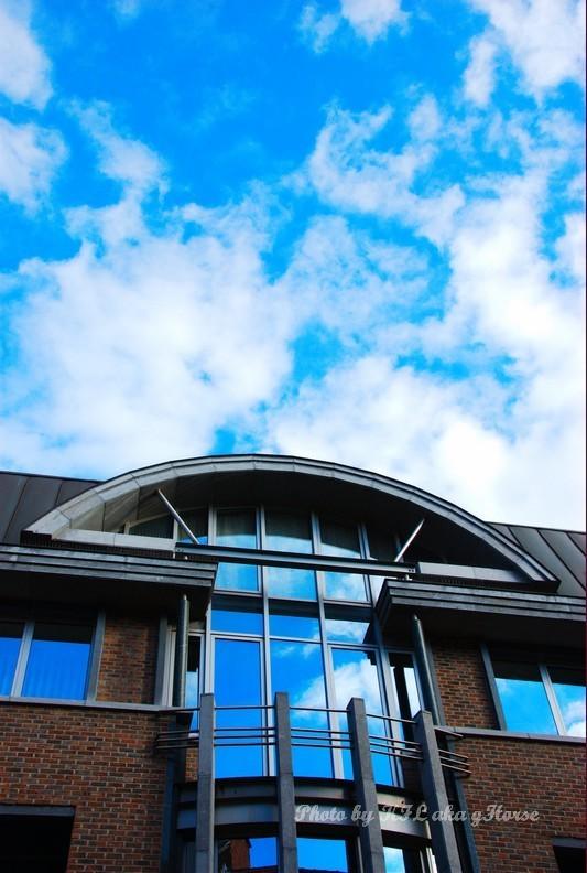 Reflection building blue sky cloud