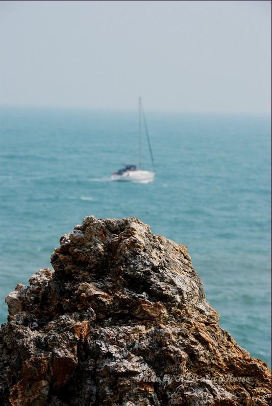 Rock sea sky yatch