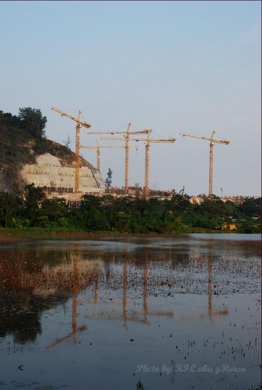 Macau Construction Water Reflection