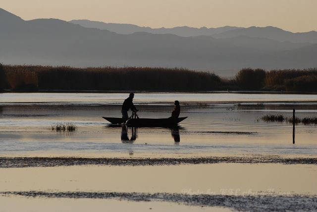 boat, reflection, wild duck lake, Xin Jiang