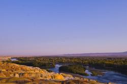 blue, river, sky, sunset, Xin Jiang