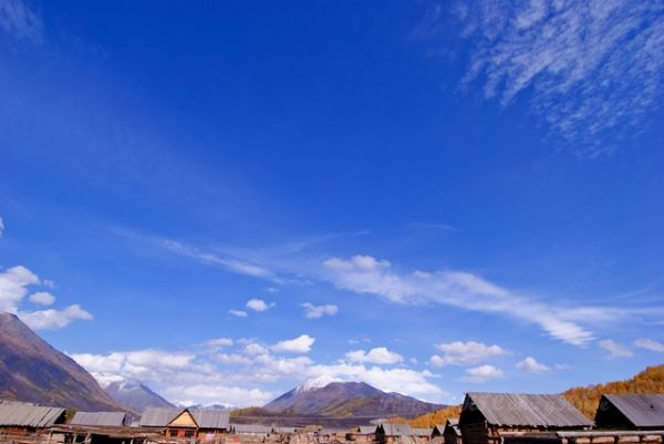 blue, cloud, Hemu, house, sky, wood, Xin Jiang
