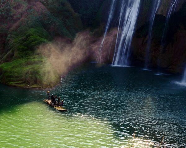 云南, 罗平, Yun Nam, Lou Ping, waterfalls, water, boat