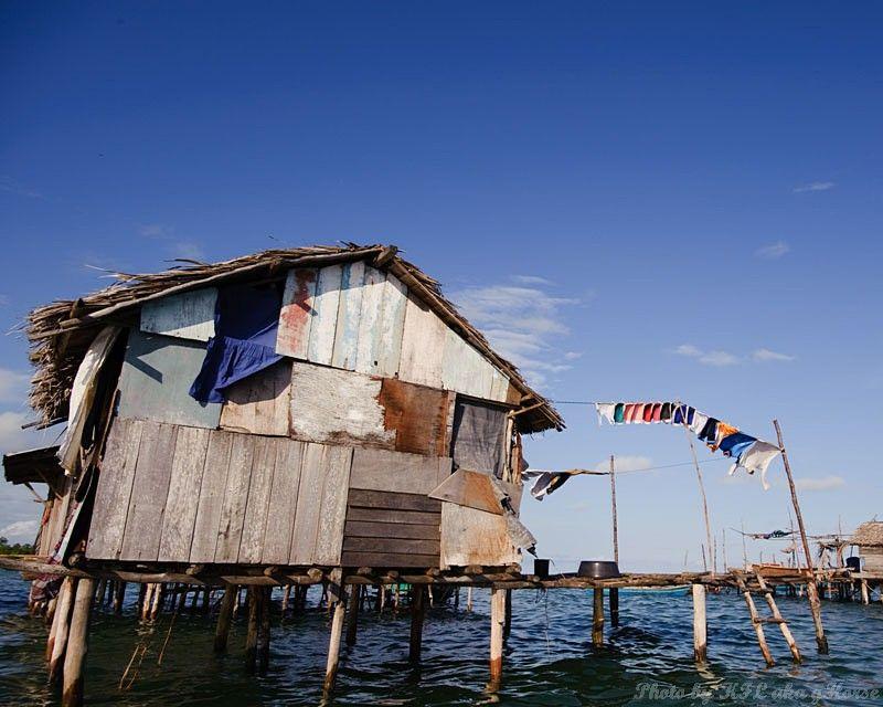 Semporna, Malaysia, blue, sky, wood, house, cloud,