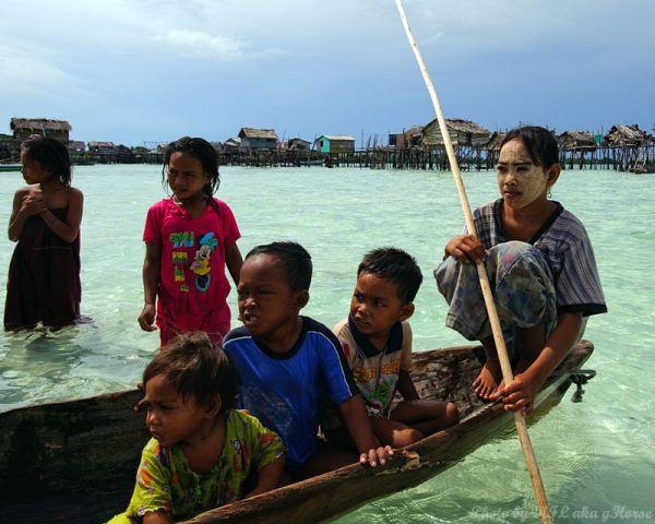 Semporna, Malaysia, sea, sky, children, boat
